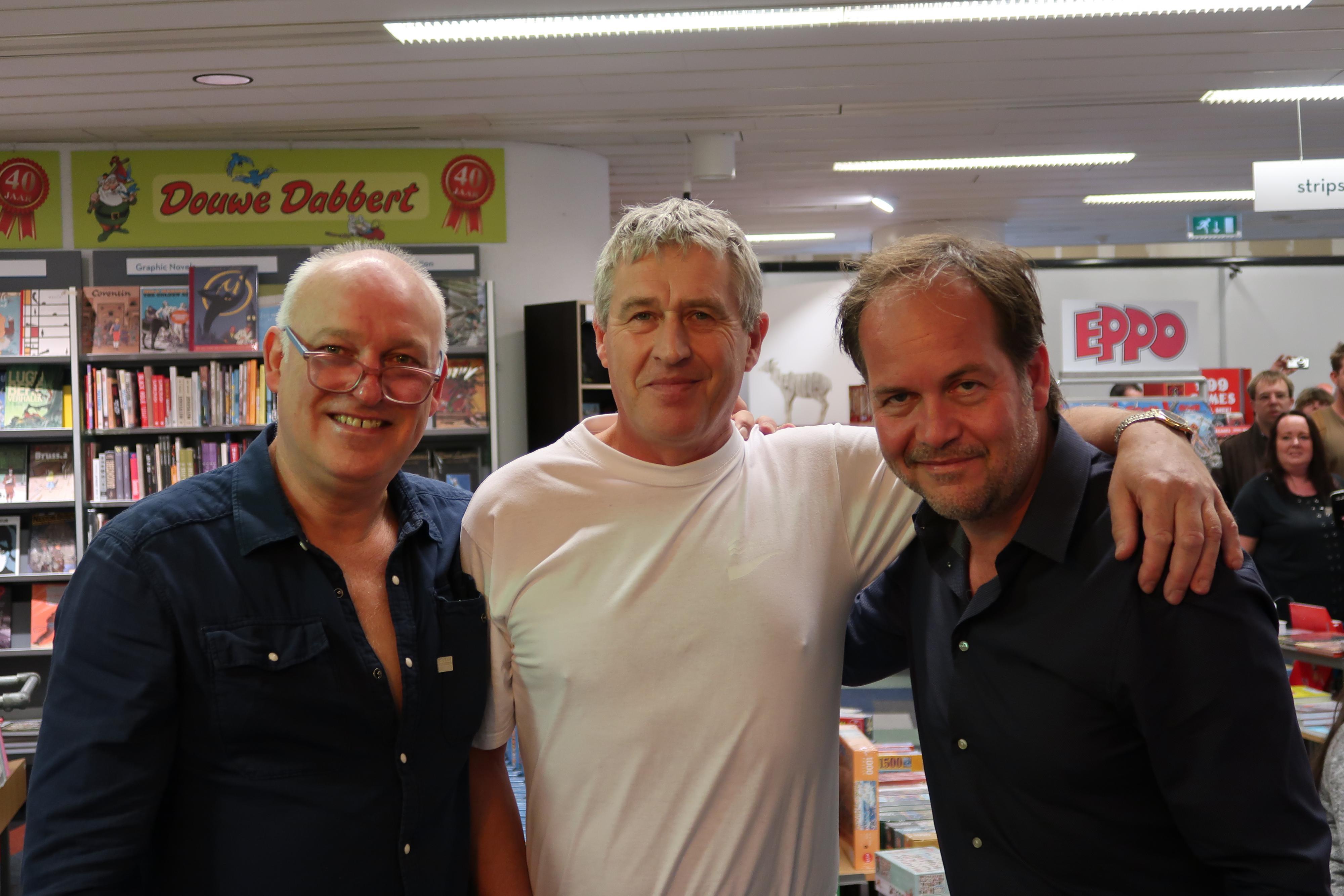 Peter Mellema op de foto met René van der Gijp en Michel van Egmond