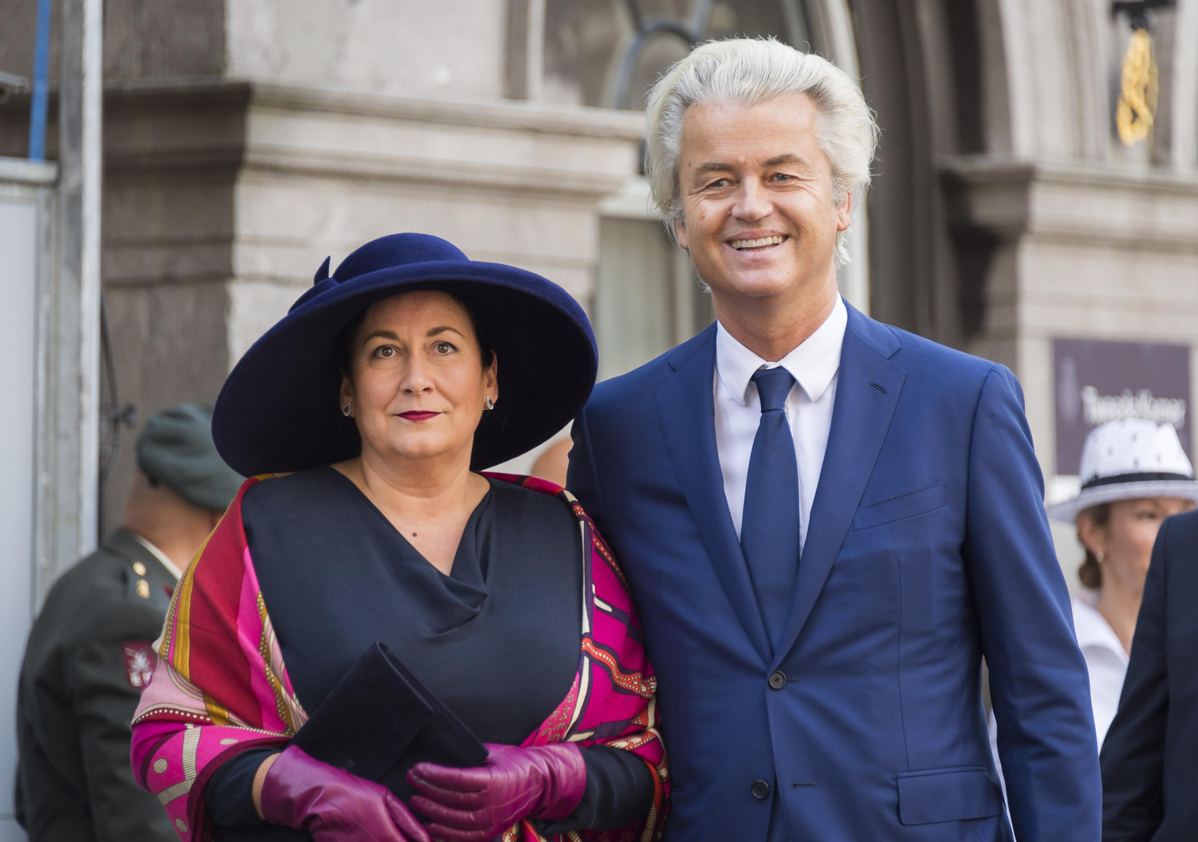 PVV-leider Geert Wilders met zijn vrouw bij de Ridderzaal op Prinsjesdag. ANP