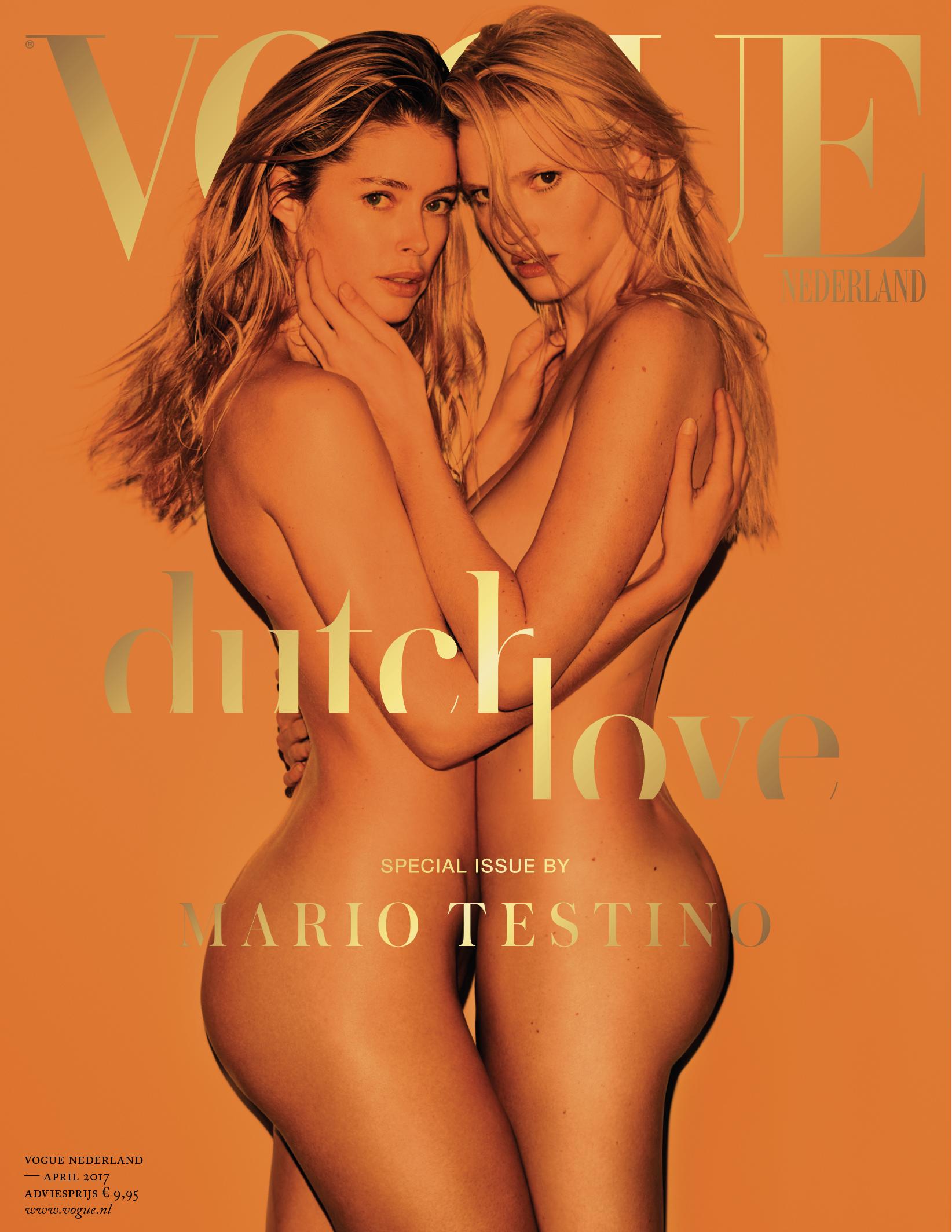 Doutzen Kroes en Lara Stone op de cover van Vogue