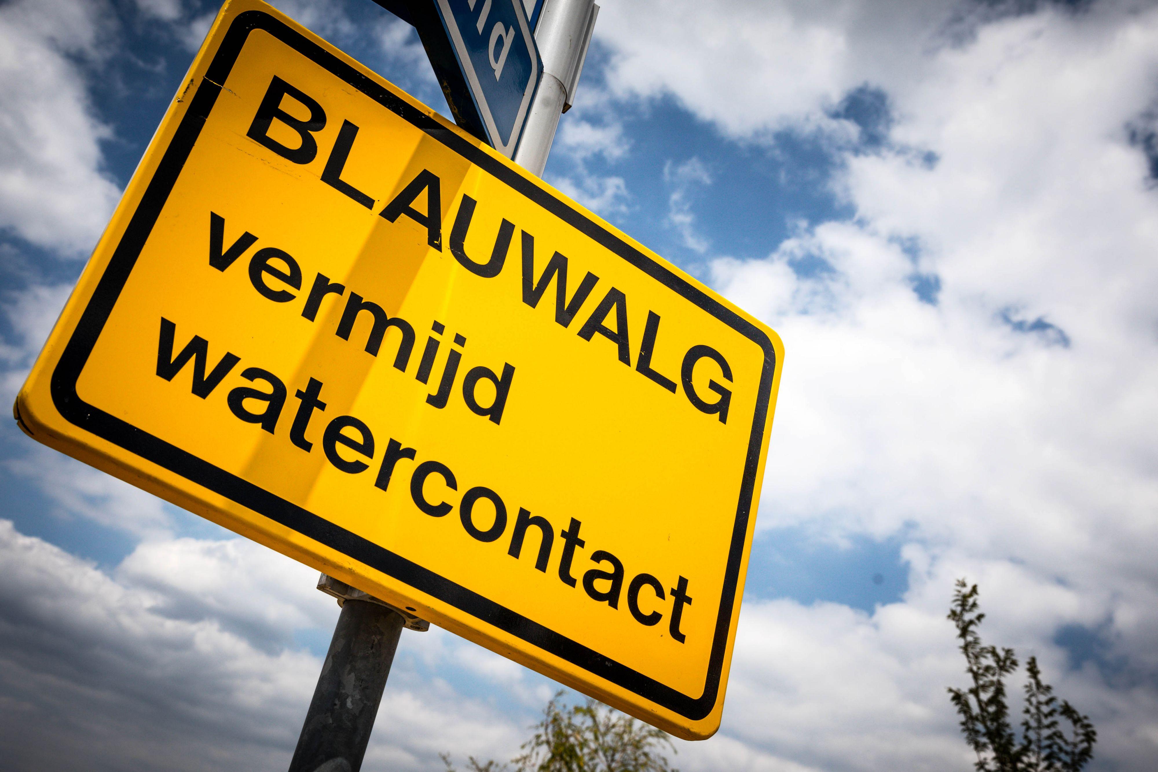 Foto van een waarschuwingsbord voor blauwalg