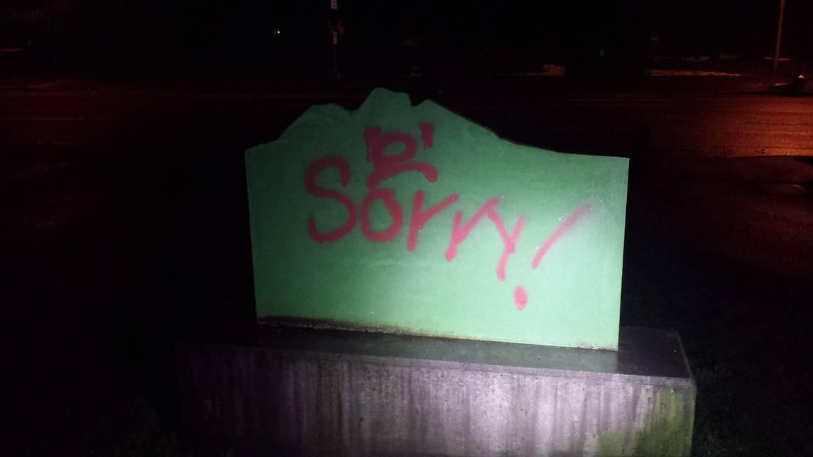 Vandalen hebben spijt en spuiten 'sorry'-graffiti