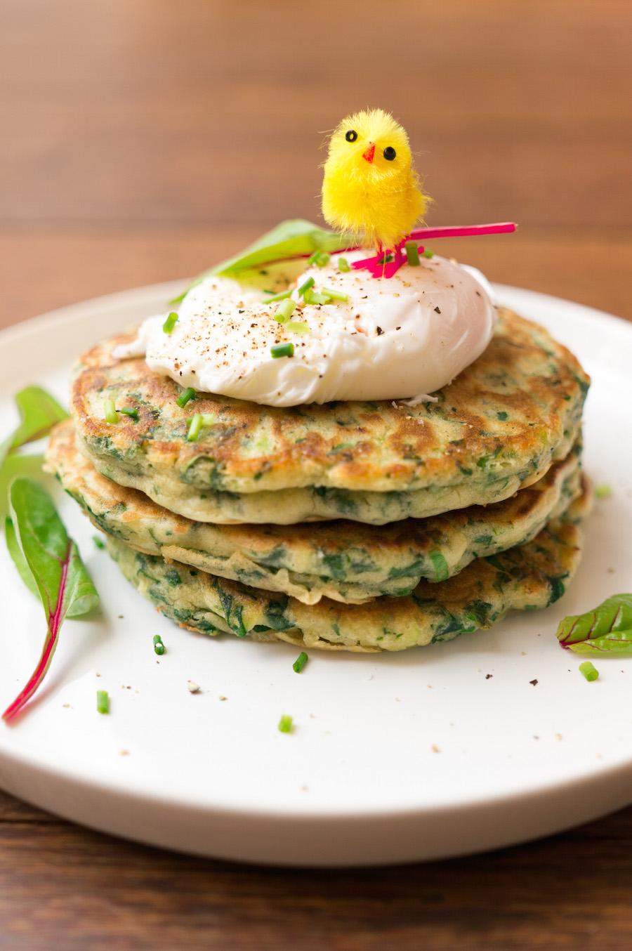 Wat eten we met pasen?  Groene pannenkoekjes met een gepocheerd ei
