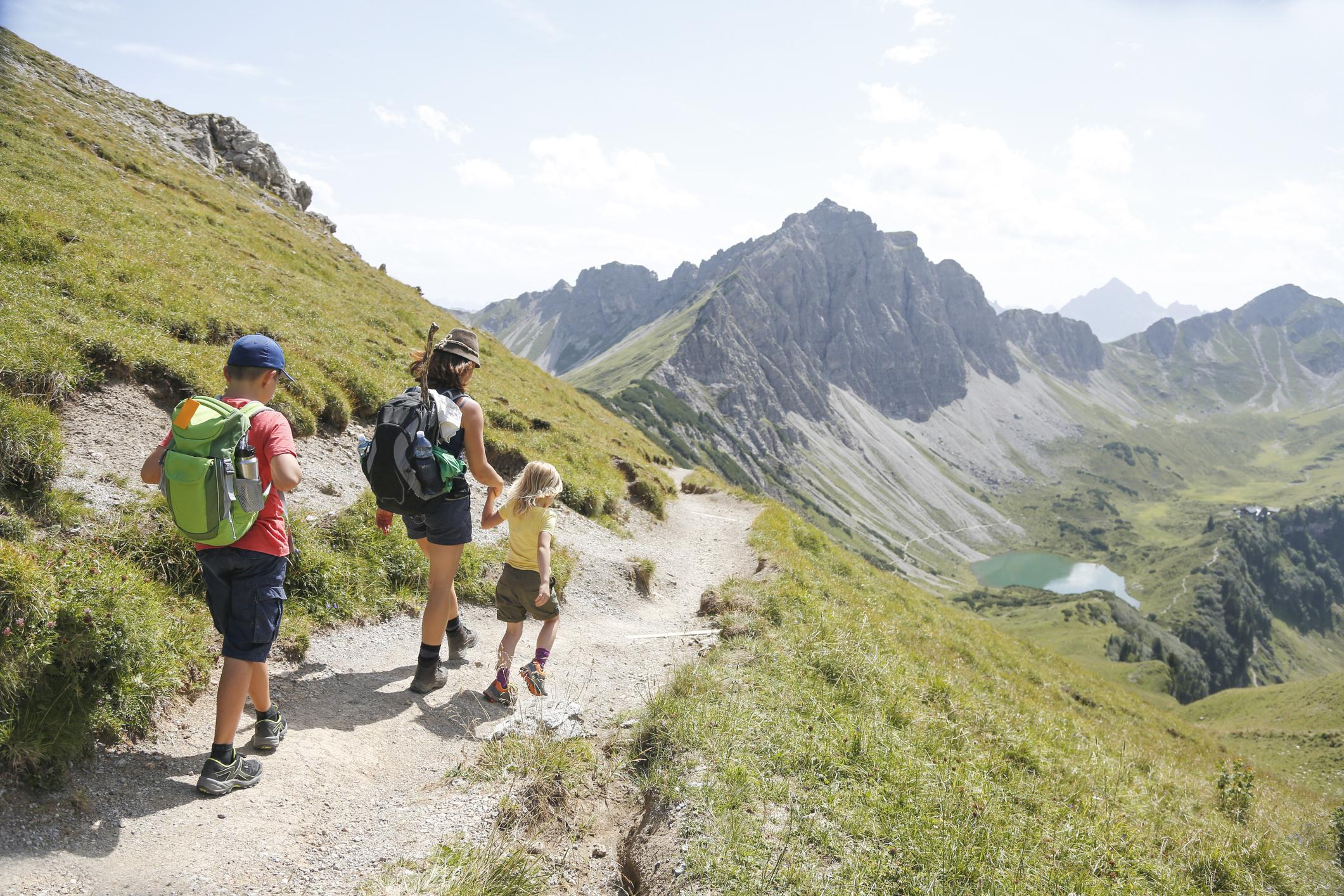 Austria, South Tyrol, family hiking