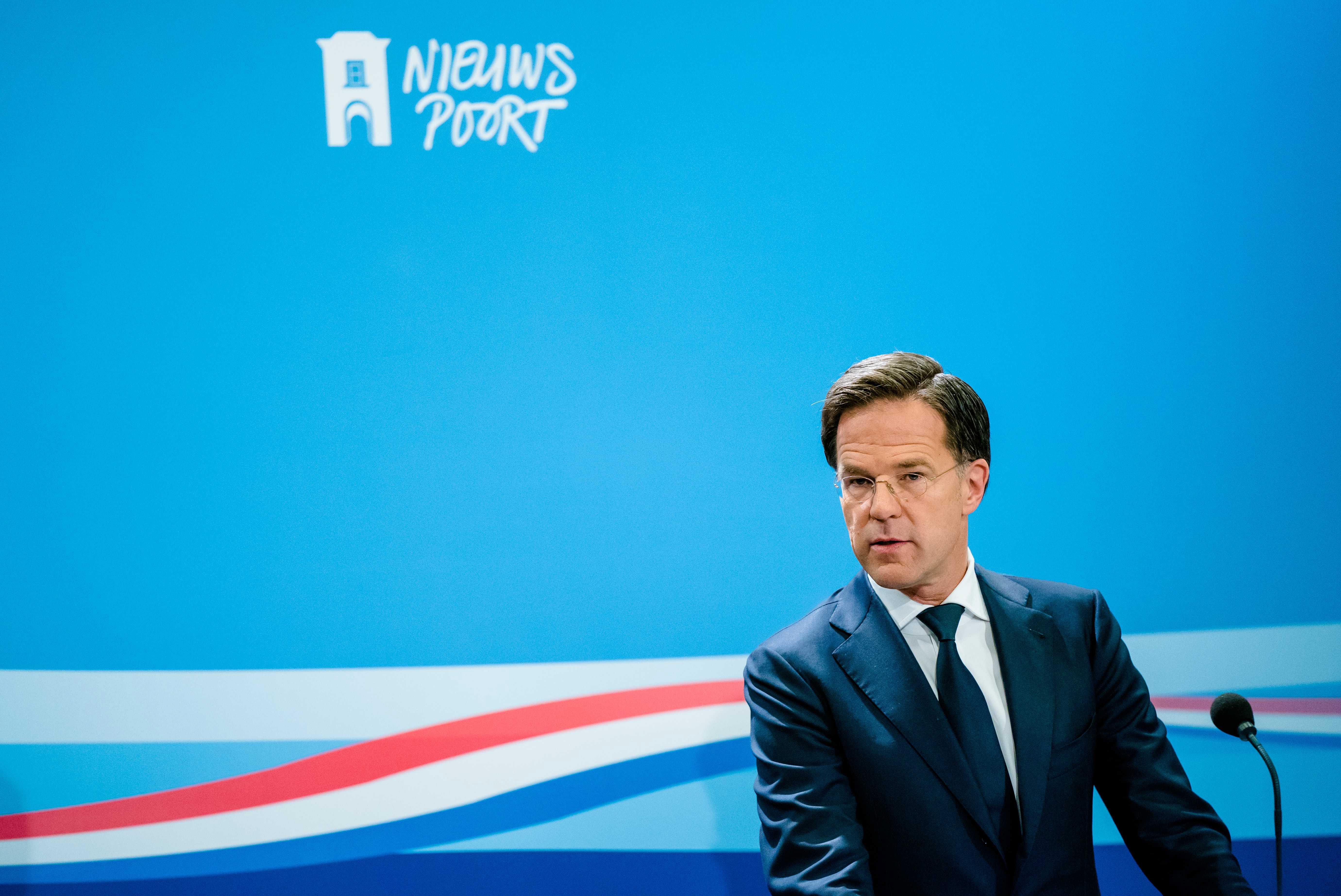 Een foto van premier Mark Rutte tijdens de persconferentie over onder meer sportscholen