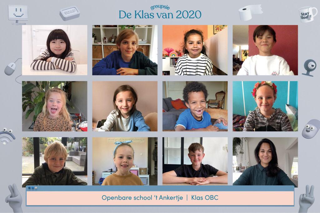 Op deze foto zie je een lagere school klassenfoto uit 2020