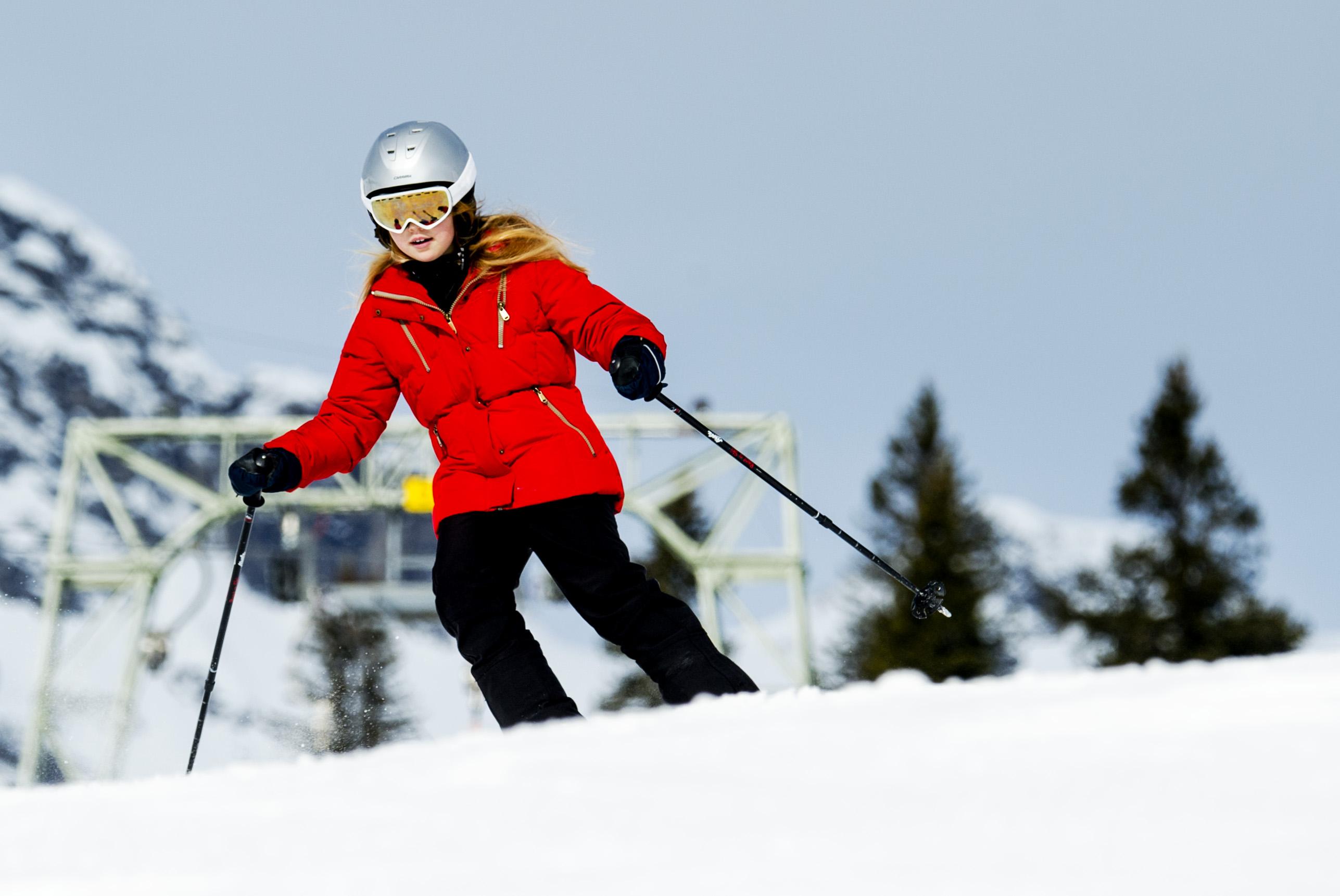 Prinses Alexia tijdens de jaarlijkse fotosessie in het Oostenrijkse skioord Lech in 2015.