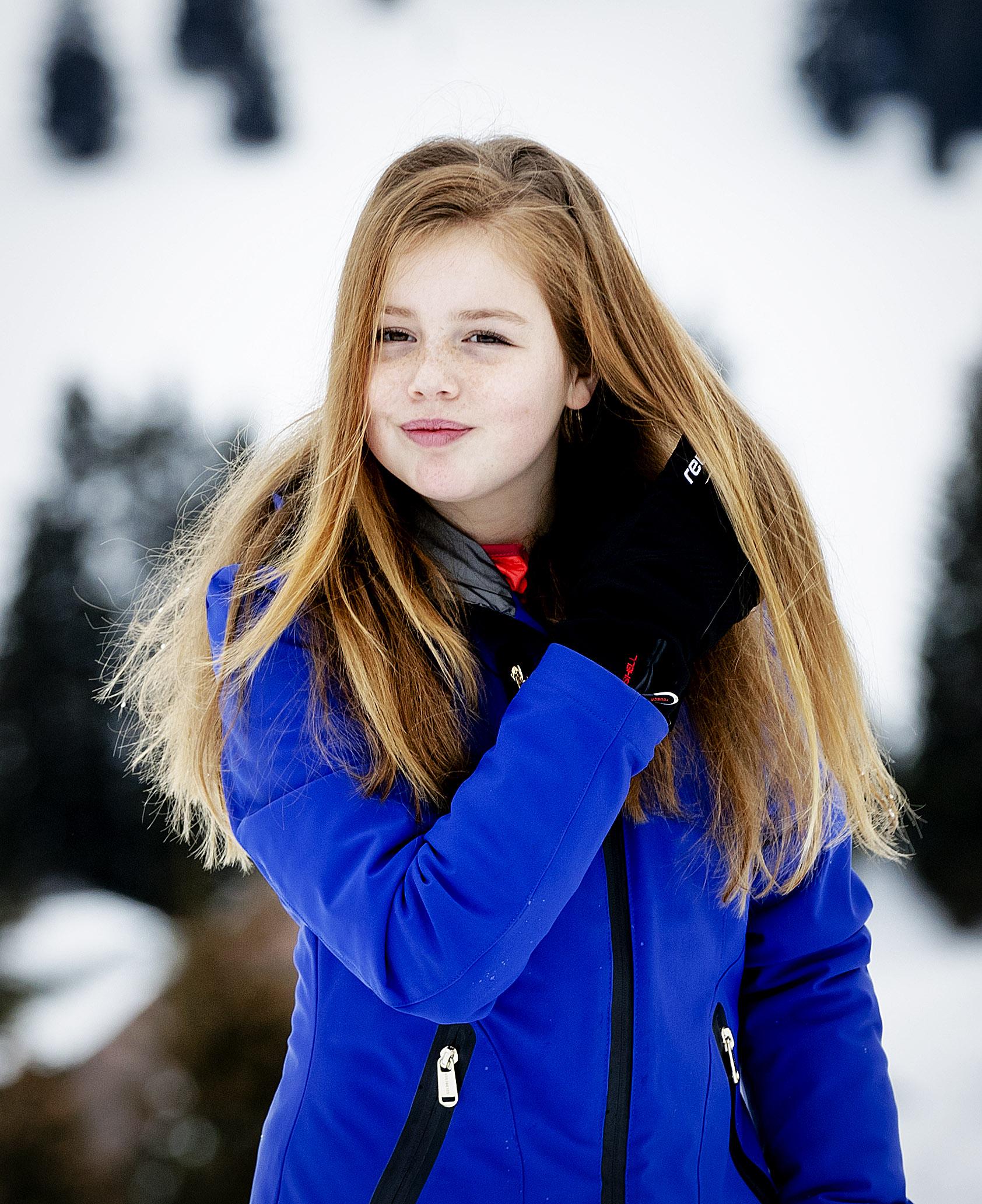 Prinses Alexia tijdens de jaarlijkse fotosessie in het Oostenrijkse Lech in 2017