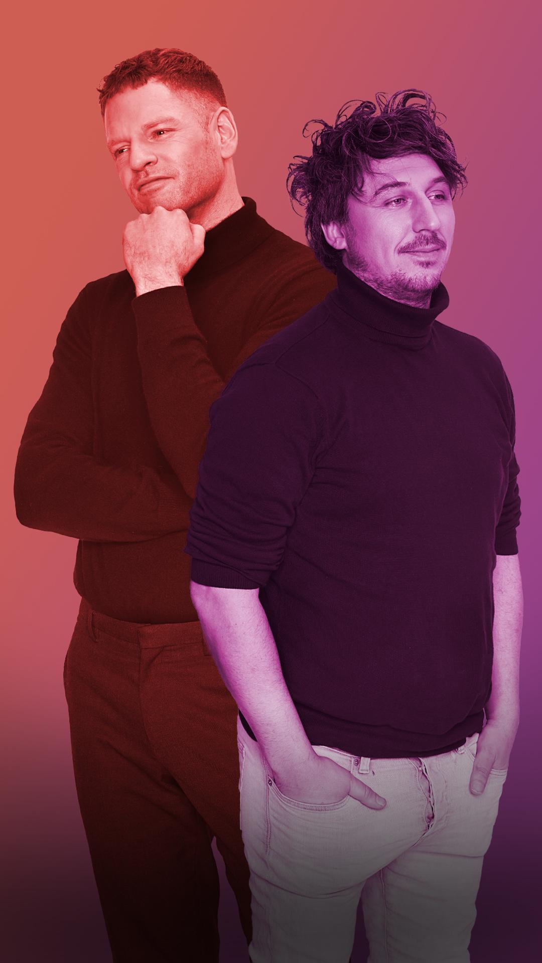 Een foto van Jelte Sondij en Lars Gierveld, de documakers van Is Geluk Te Koop?