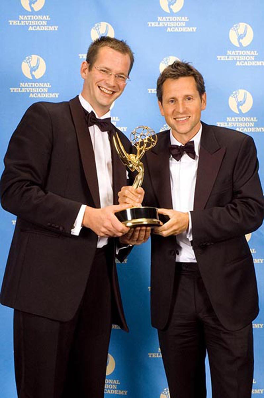 Op de foto Tom Kleijn en Joris Hentenaar veertien jaar geleden toen zij een Emmy Award wonnen.