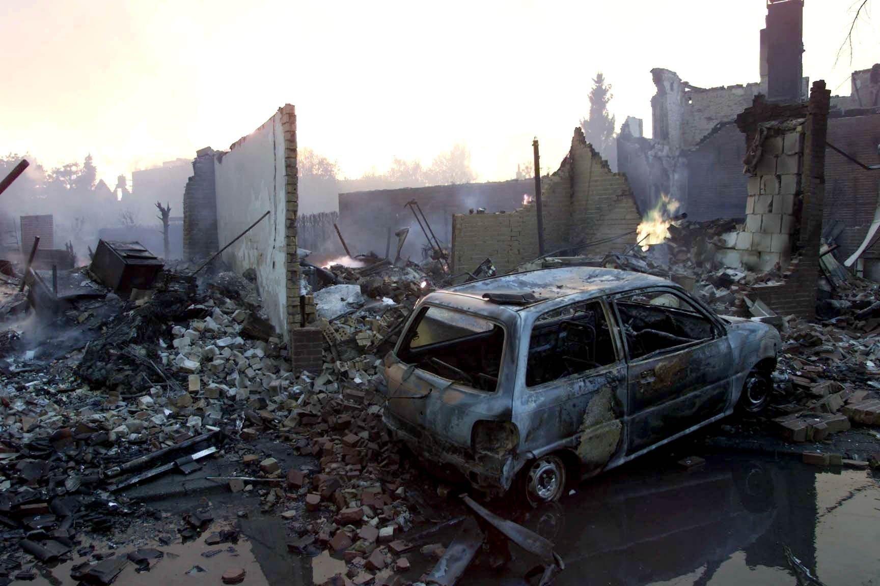 Op de foto de opgeblazen wijk Roombeek in Enschede in mei 2000.
