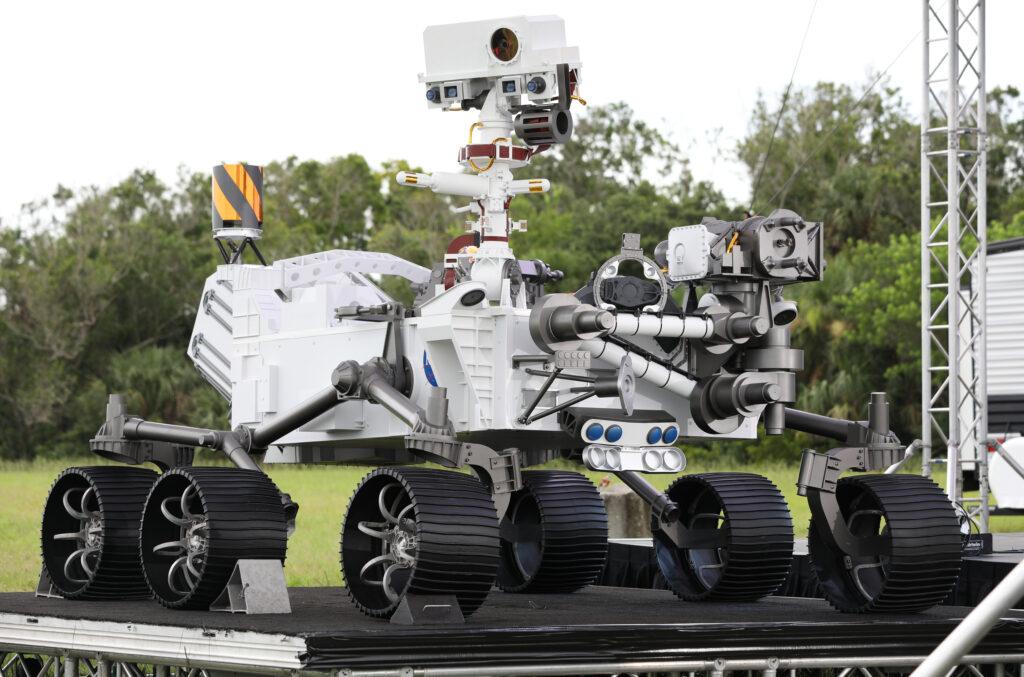 Dit is de Perseverance. Het toestel dat naar Mars wordt gelanceerd.
