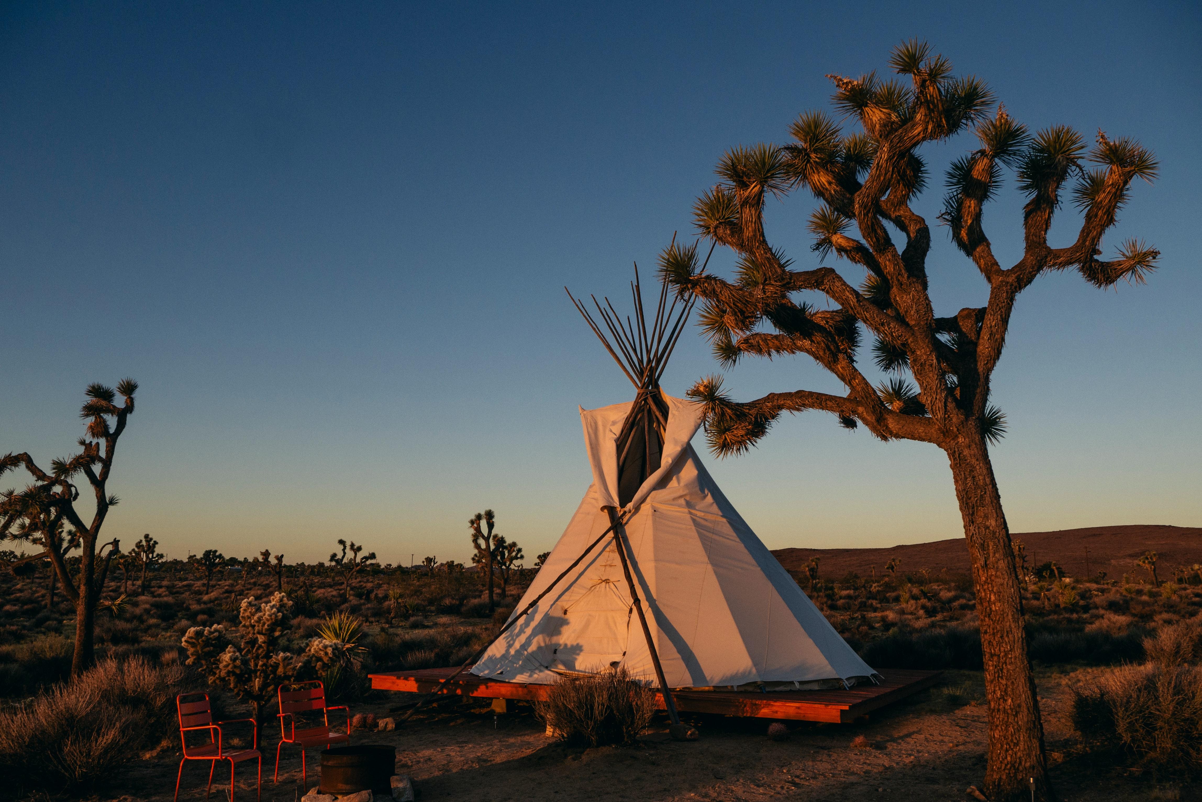 Een foto van een luxe tent in de natuur