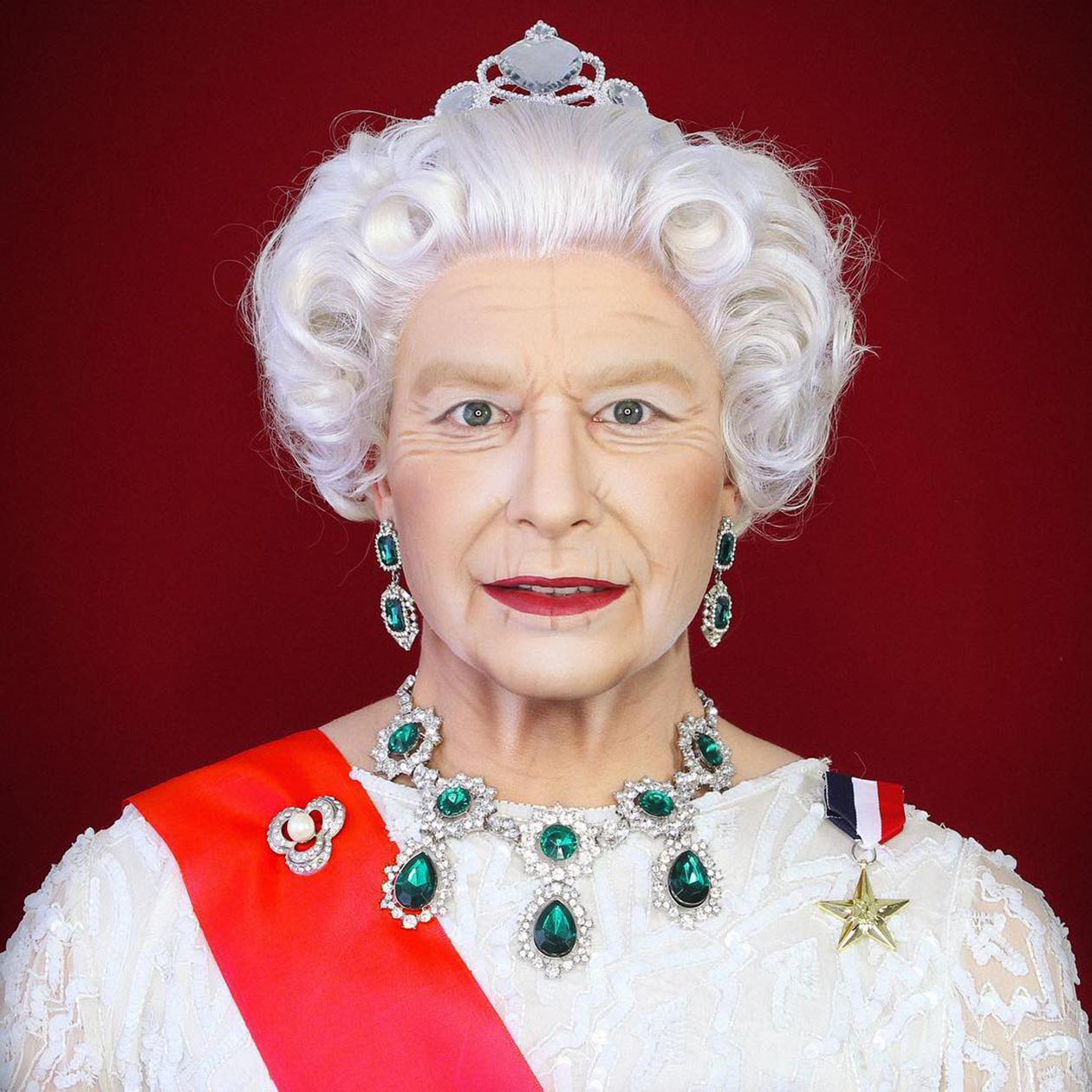 Een foto van Make-up Master als queen Elizabeth