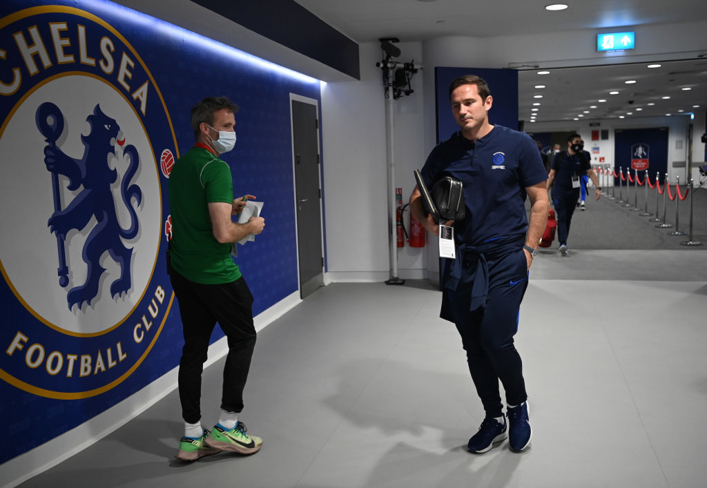 Een foto van Frank Lampard in het stadion van Chelsea