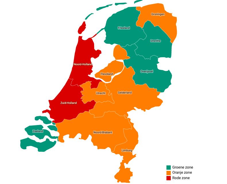 foto van kaart Nederland in kleure