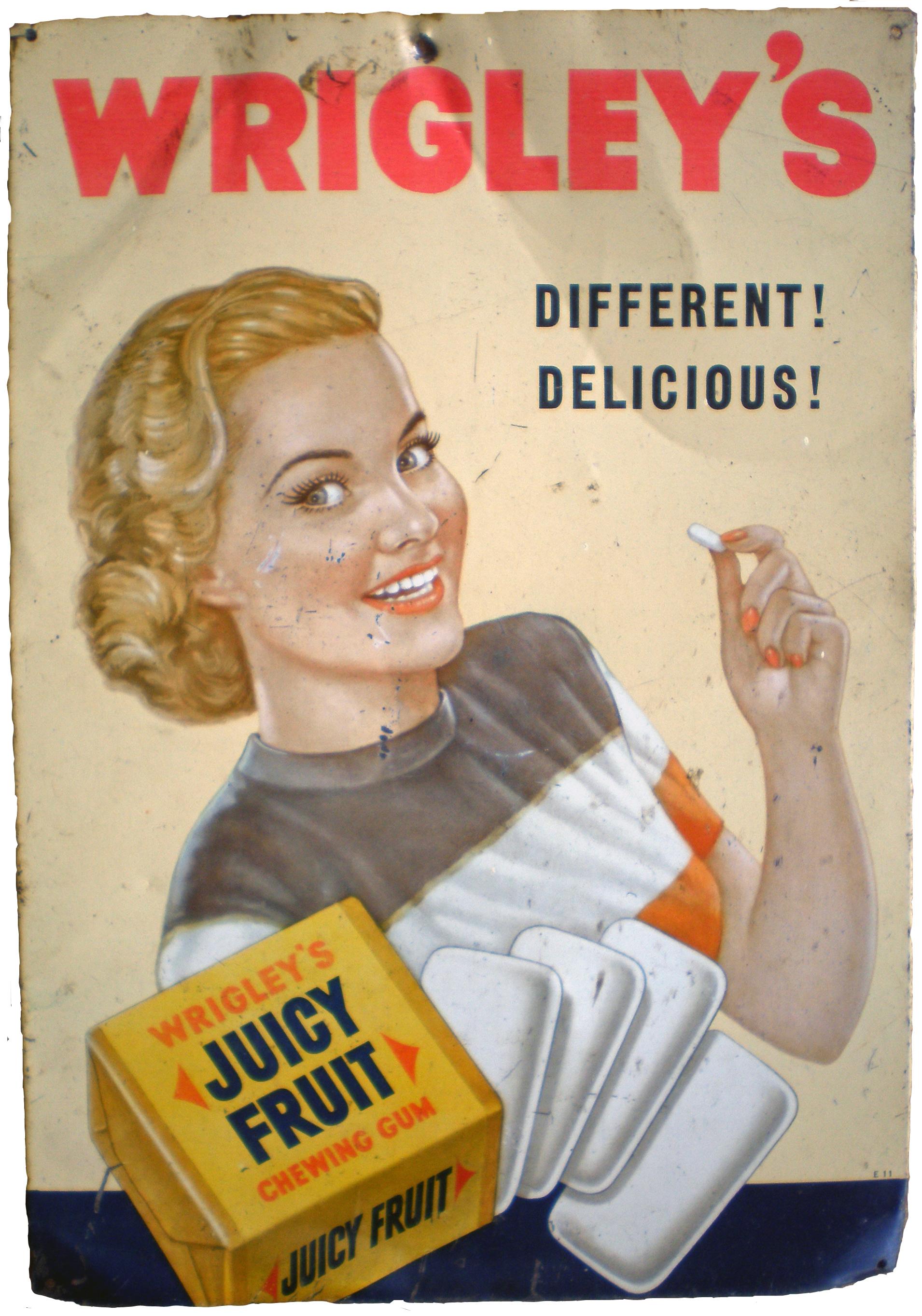 Een oude poster van Wrigley's Juicy Fruit