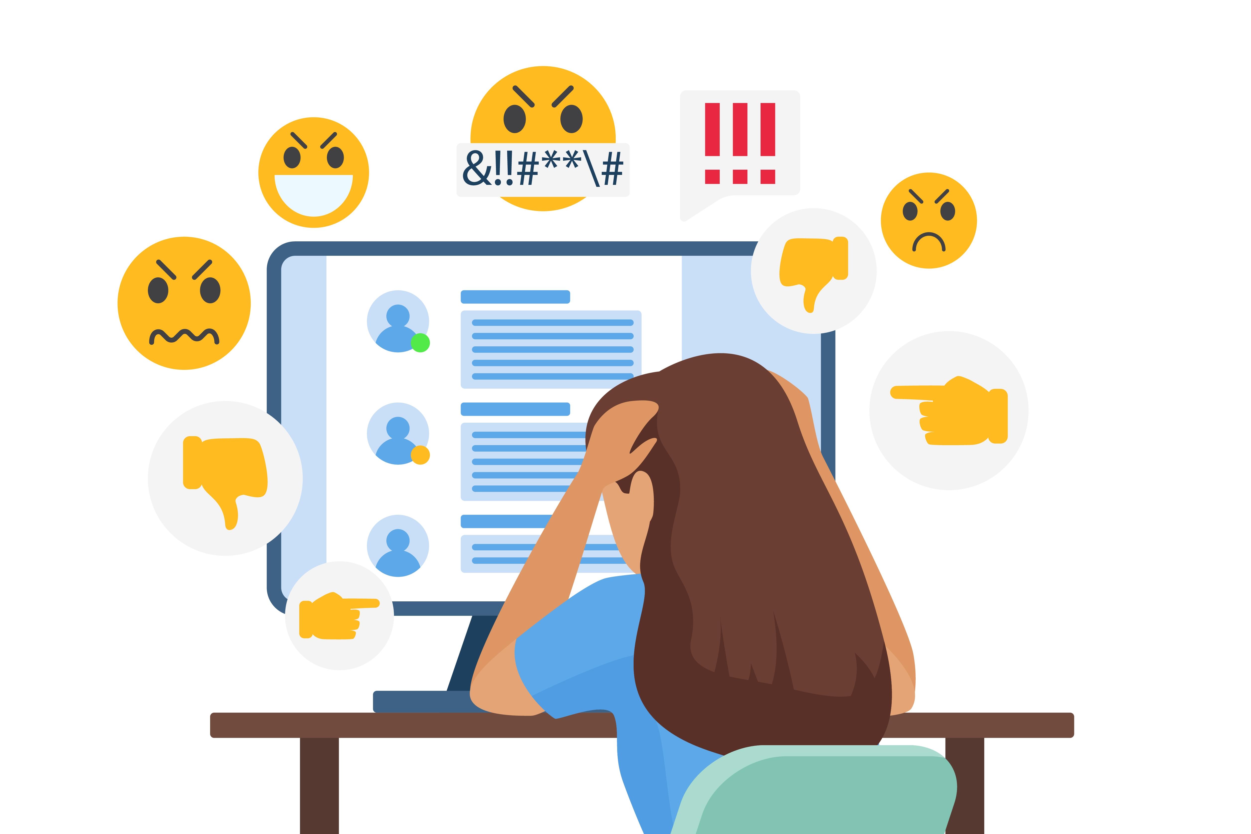 Een illustratie van een meisje achter de computer dat slachtoffer is van pesten