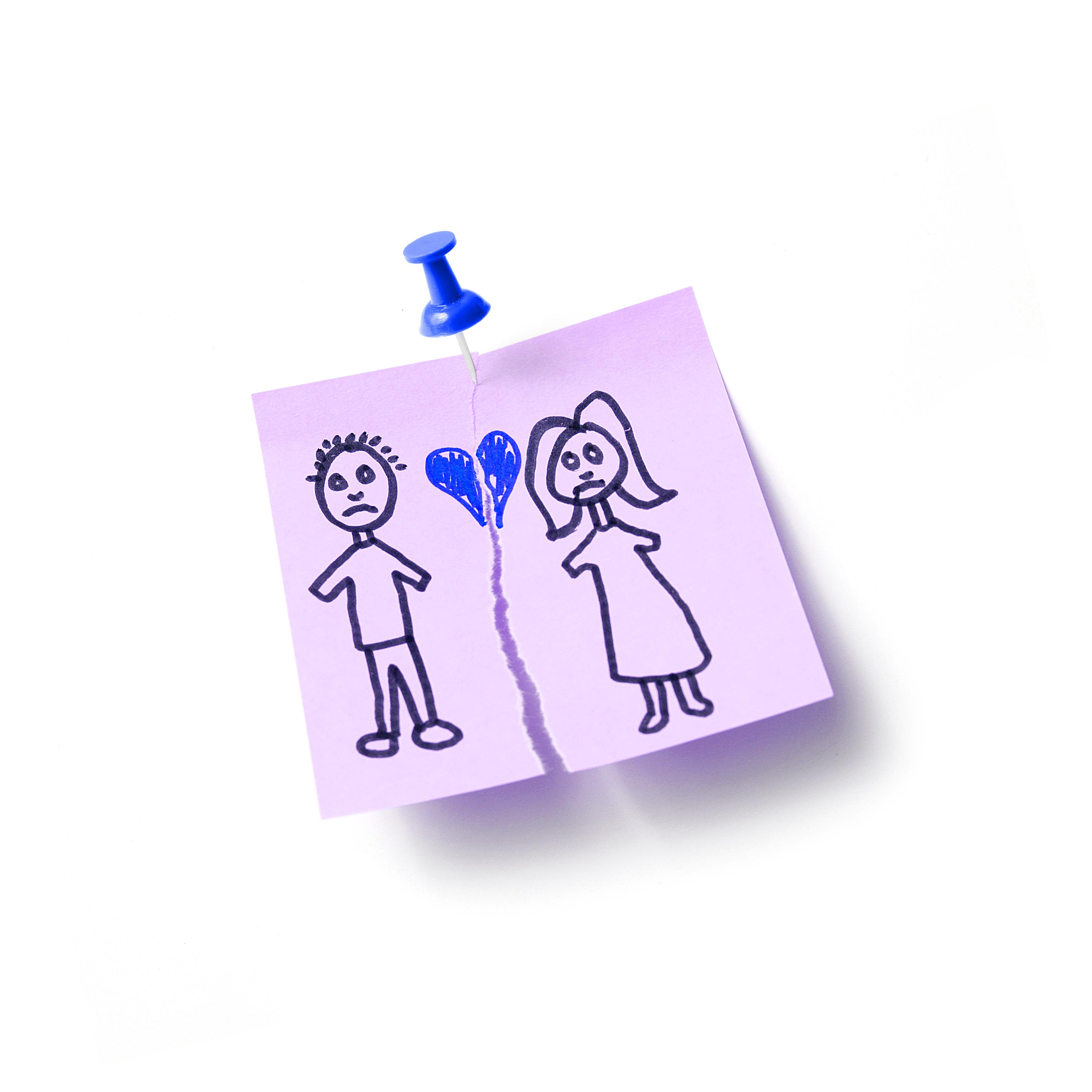 Een foto van een tekening van een echtscheiding