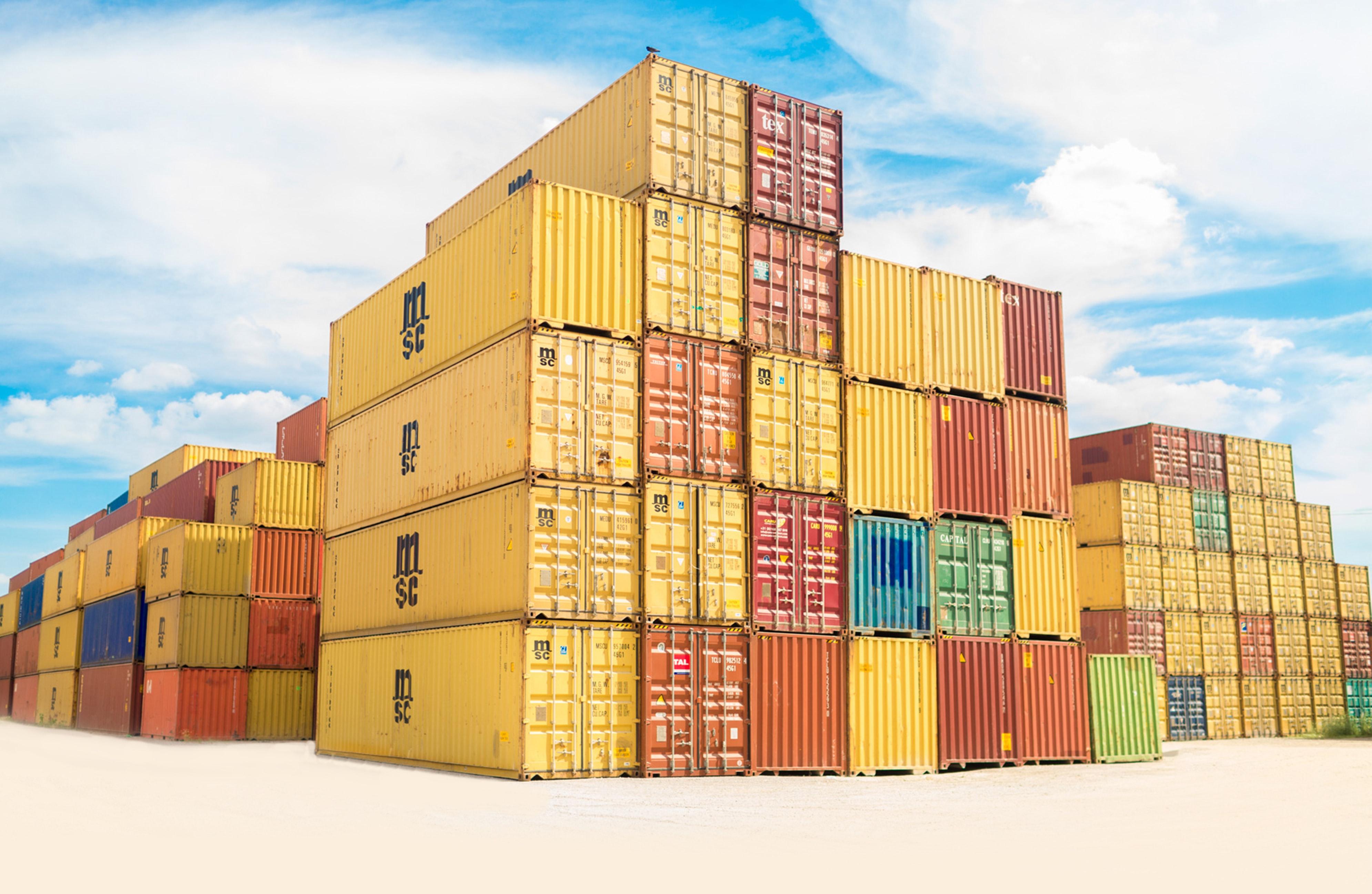 Een foto van opslagcontainers