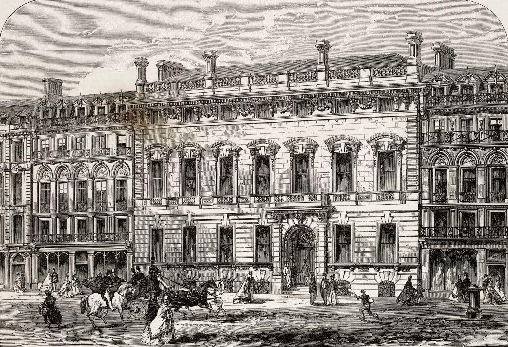 Een tekening van herenclub Garrick in Londen in 1864