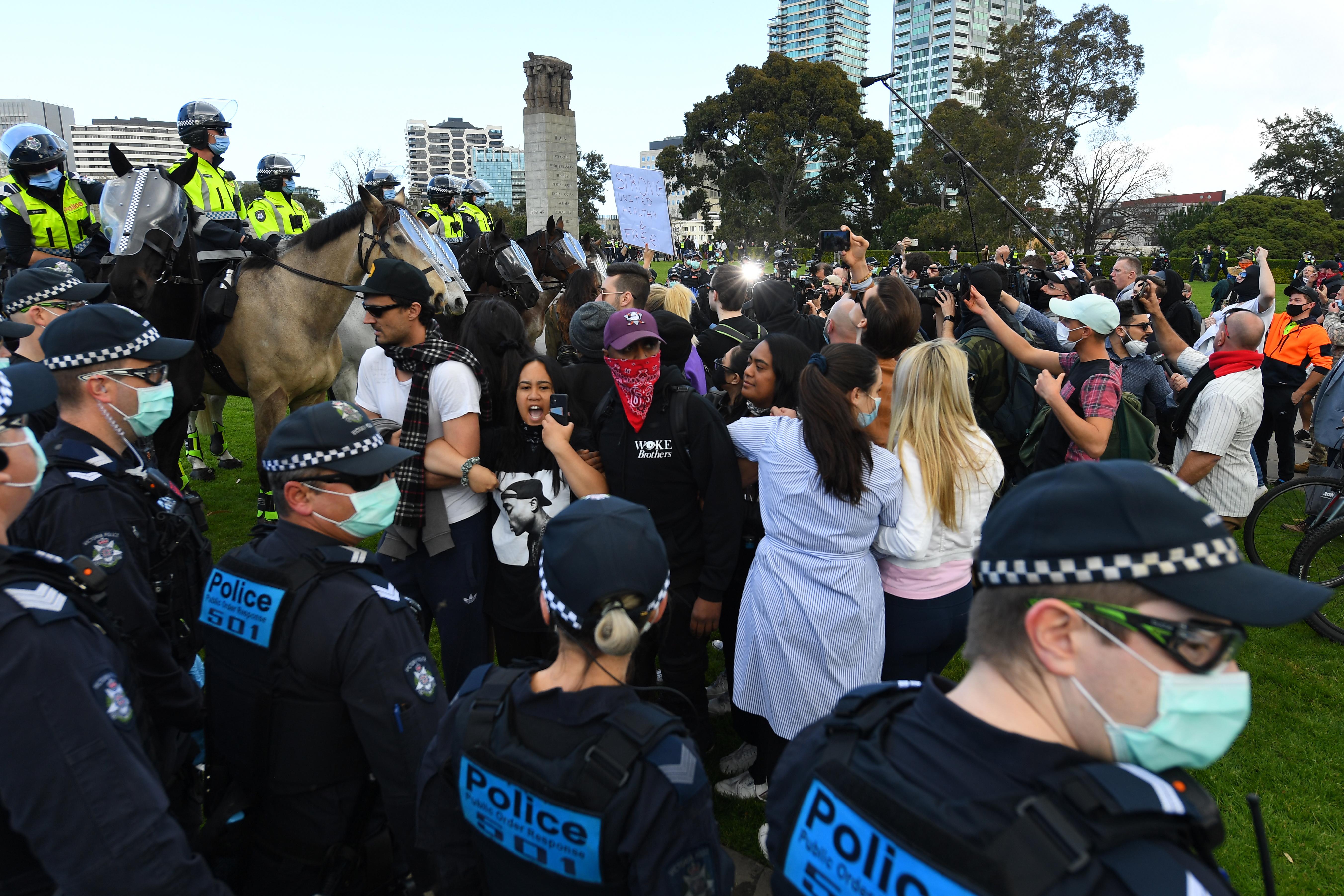 Foto van de demonstratie in Melbourne