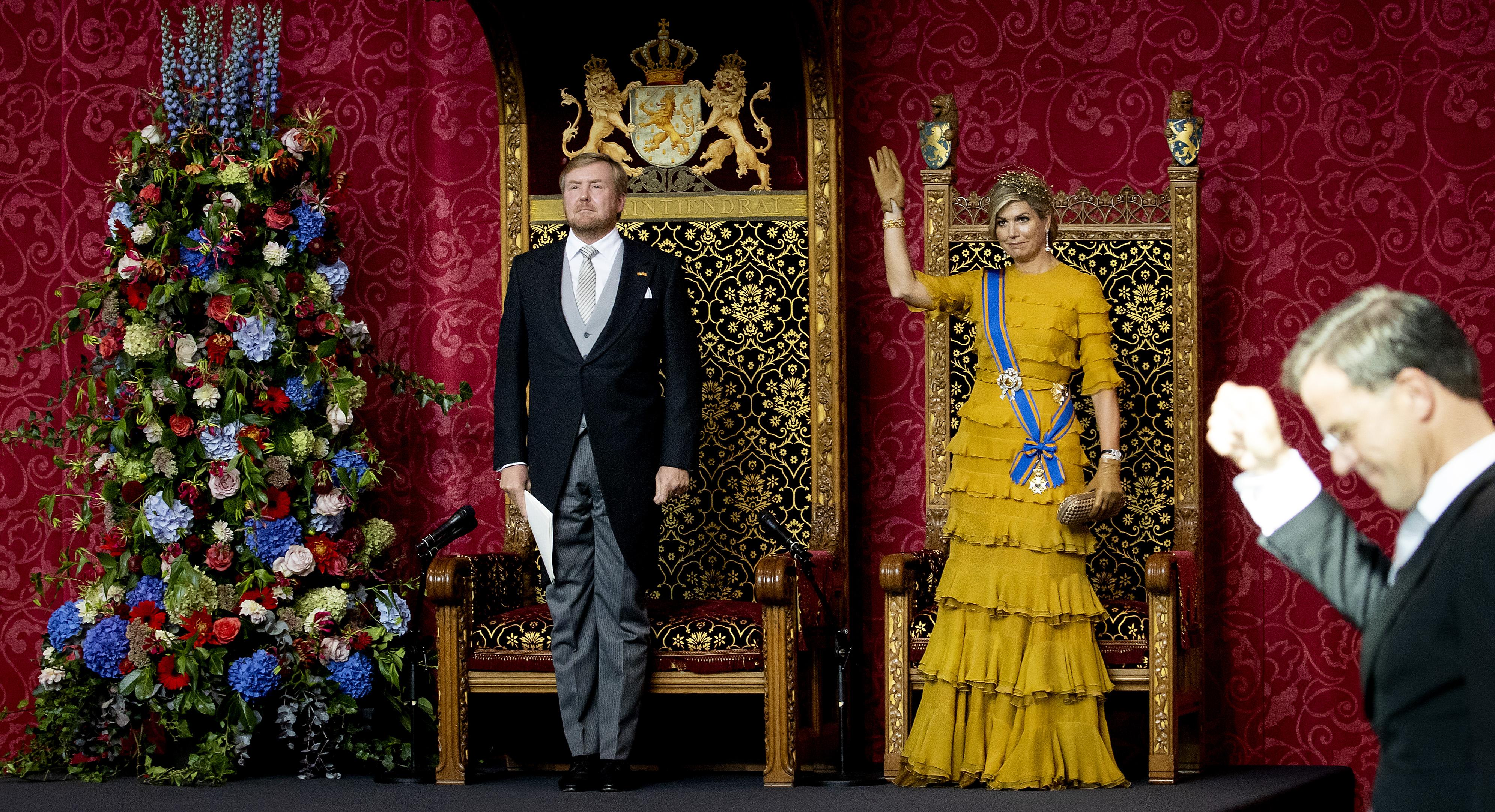 Een foto van Willem-Alexander en Máxima tijdens de Troonrede