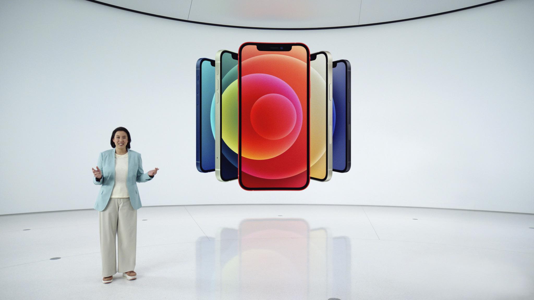 Een foto van de presentatie van de iPhone 12