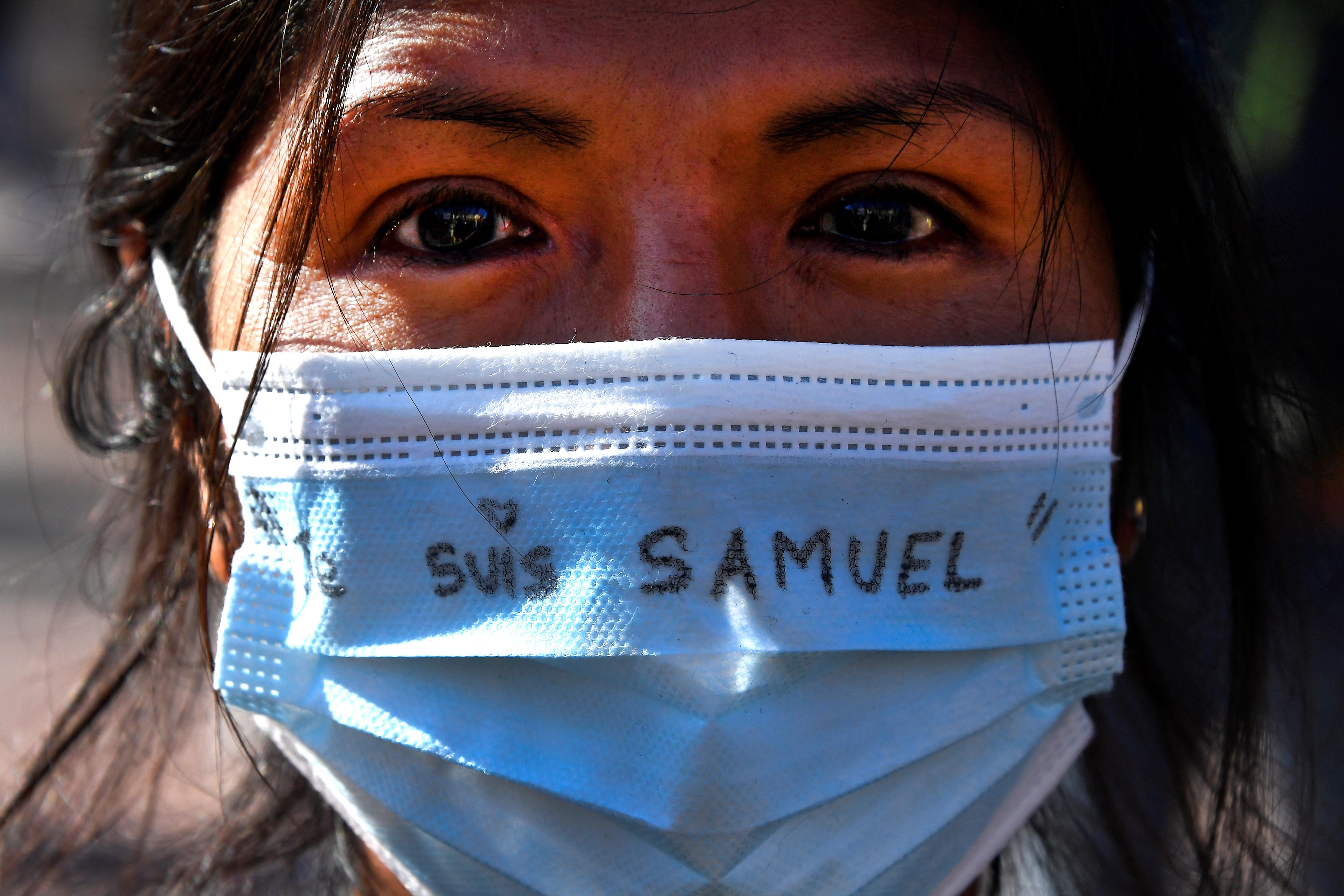 foto van mondkapje met je suis Samuel