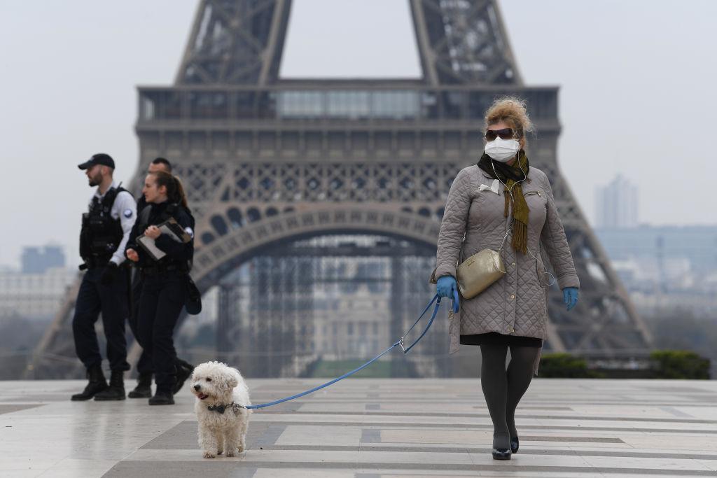 Een foto van een vrouw met hond bij de Eiffeltoren, in Parijs zijn al strenge coronamaatregelen