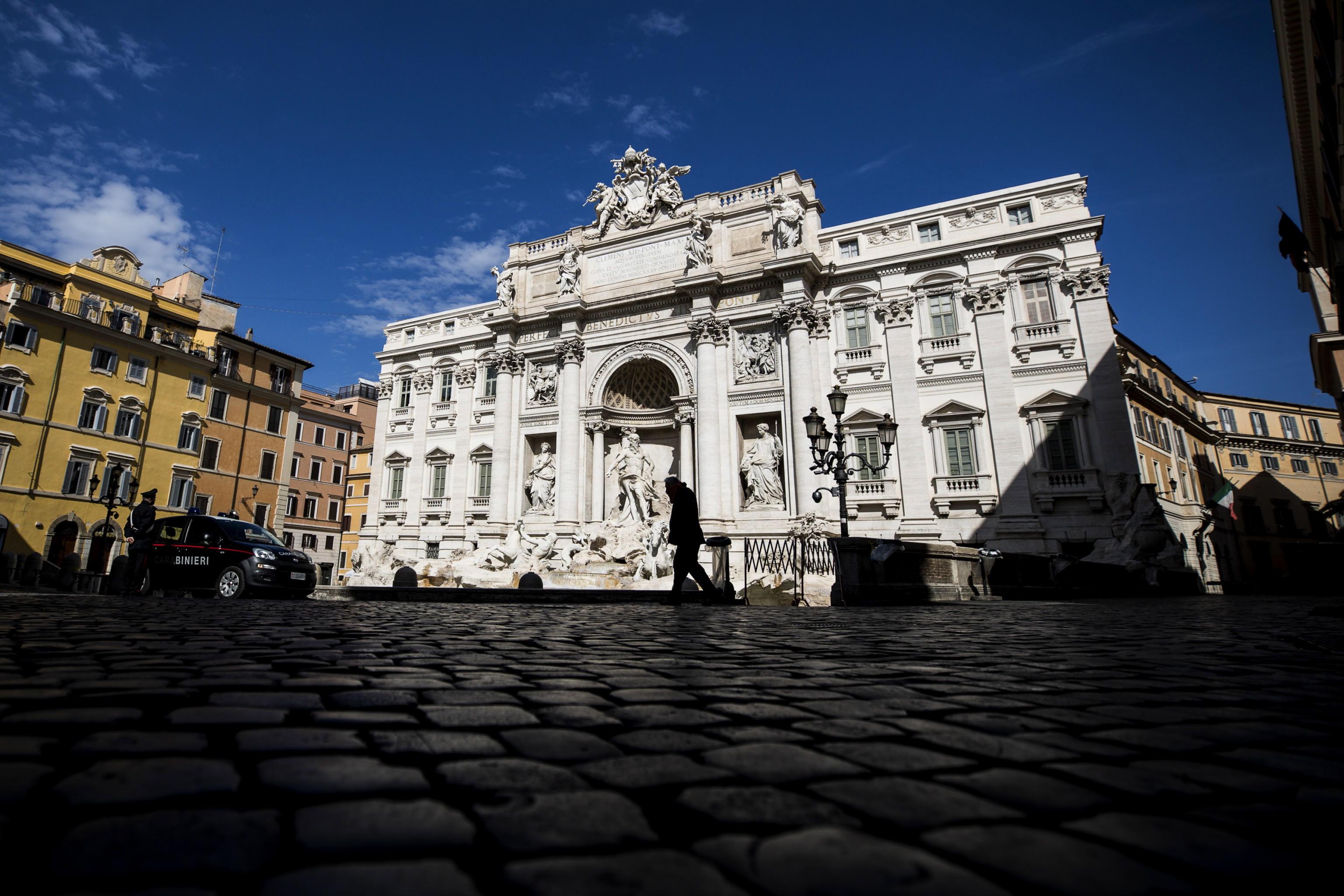 Een foto van een verlaten Rome tijdens de strenge lockdown