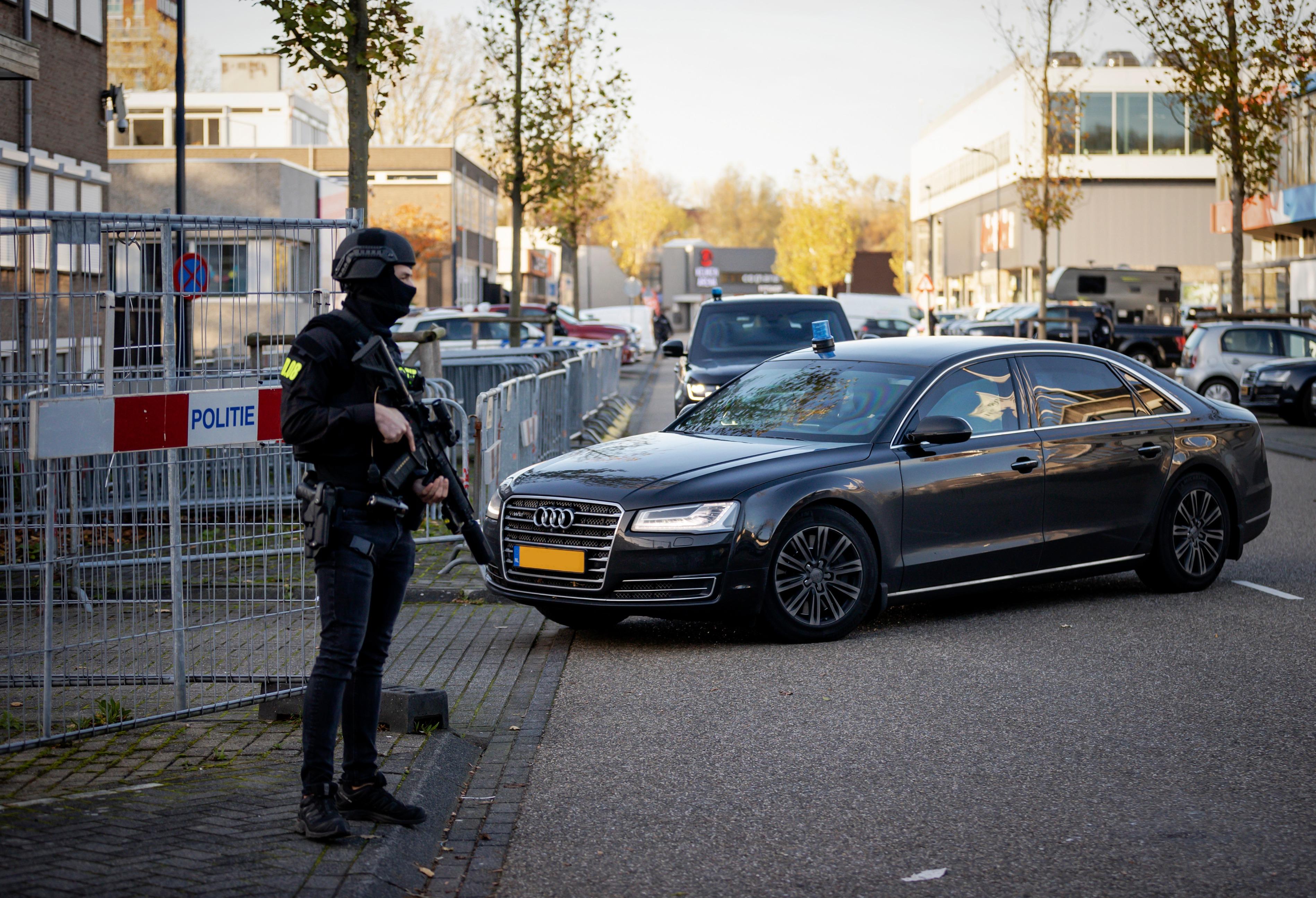 Een foto van de rechtbank in Amsterdam waar het Marengo proces gehouden wordt